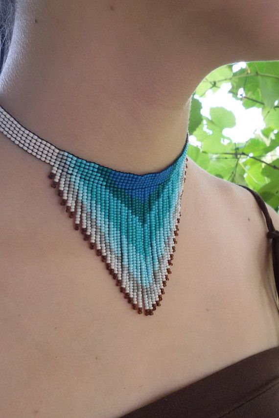necklace beadwork necklace fringe necklace seed bead by UMEUM