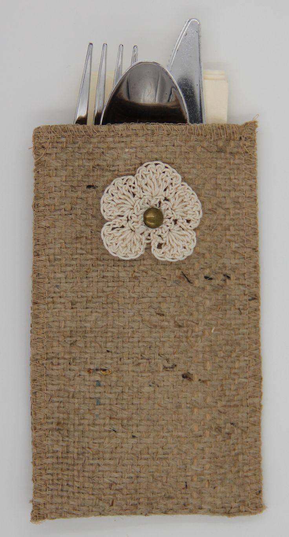 Crochet Flower Burlap Silverware Holder - Set of 8