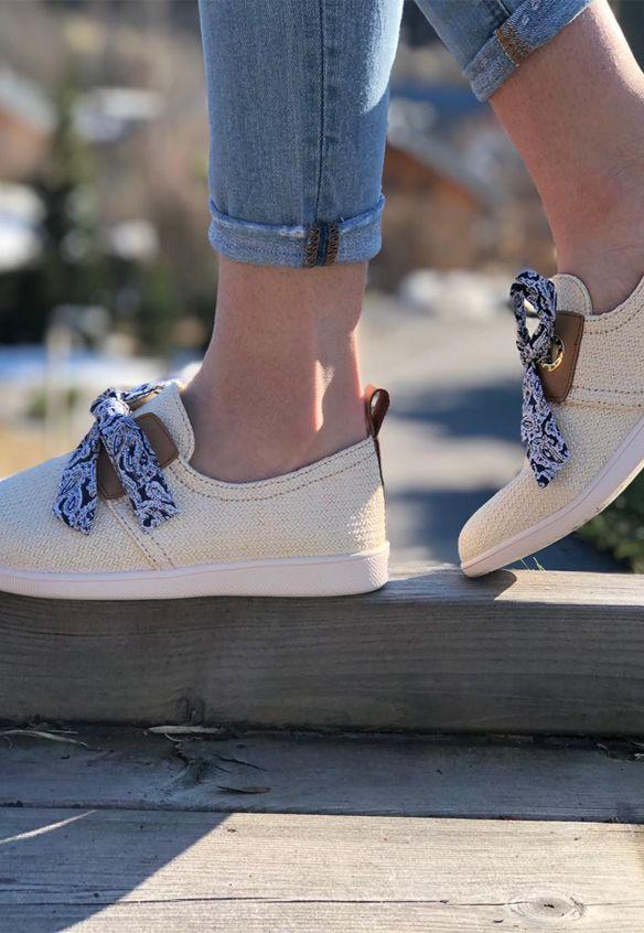 Armistice chaussures a lacets stone one knit beige   Lacets