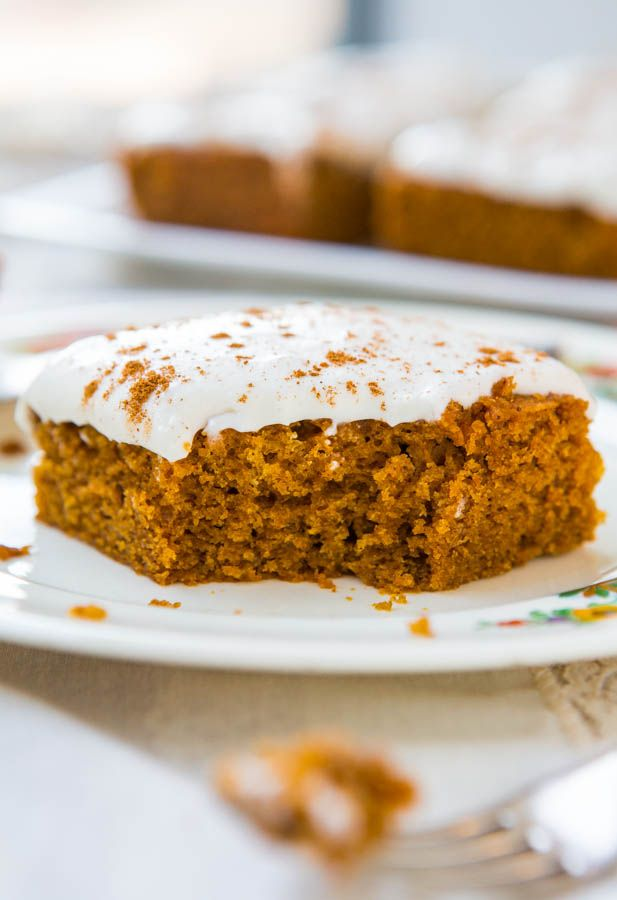 Soft Vegan Pumpkin Cake with Pumpkin Spice Buttercream Frosting - Fast, easy cake you'll never guess is vegan.
