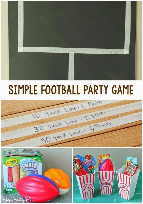 Super easy and fun football party game idea from playpartypin.com, perfect for keeping kids entertained with this Super Bowl party game