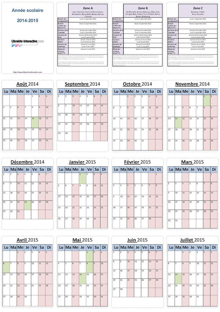 Un planning individuel pour l'année scolaire 2014-2015 (6 mois ou 12 mois par page) pour les élèves et les enseignants.