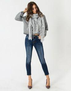 High waist denim trousers