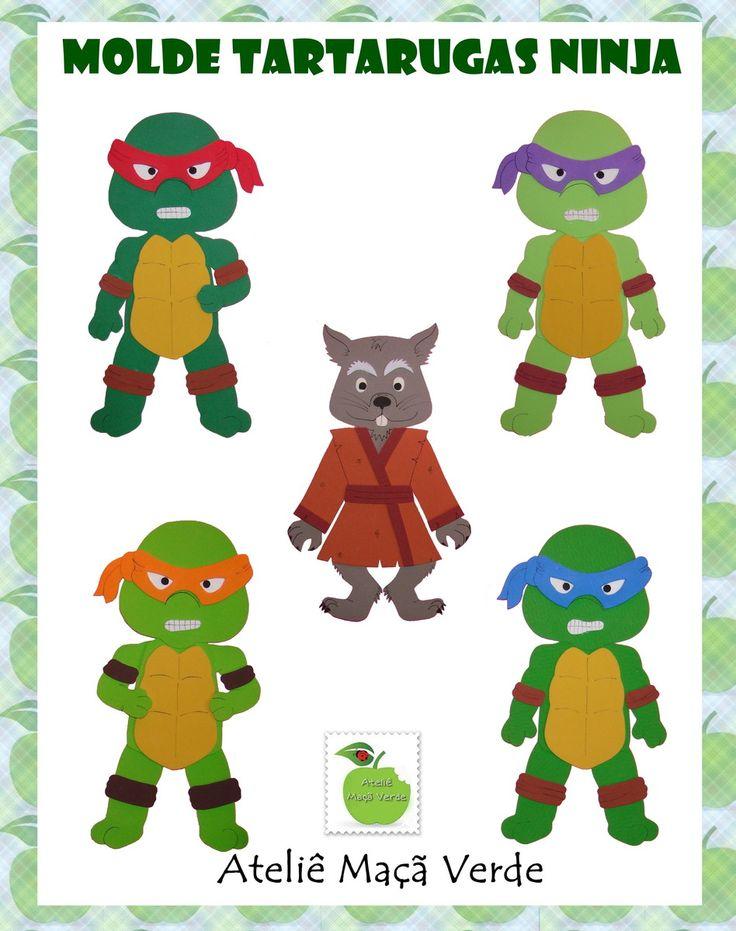 MOLDES PARA FAZER APLIQUES PLANOS PARA DECORAÇÃO TARTARUGAS NINJA    Afetados por uma substância radioativa, um grupo de tartarugas cresce anormalmente, ganha força e conhecimento. Vivendo nos esgotos de Manhattan, quatro jovens tartarugas, treinadas na arte de kung-fu, Leonardo, Rafael, Michelan...