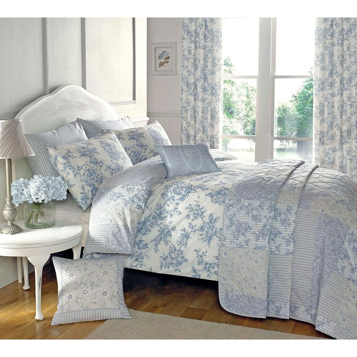traditional toile duvet quilt cover floral bedding set in cream u0026 blue