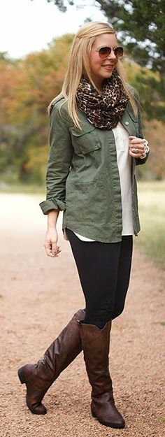 Pair your leggings with tall leather boots and layer with cargo and animal print for a fall-ready look! A sturdy tall leather boot is essential for this season - the outfit combinations are endless! What's your favorite way to style tall leather boots?