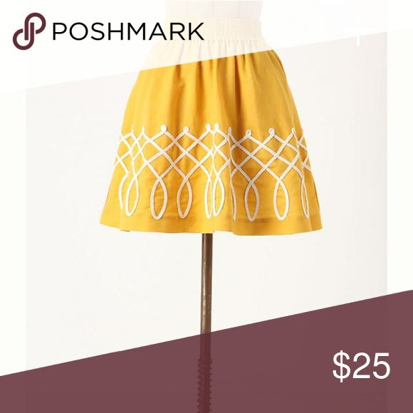 Anthropologie Sugar Work Skirt Girls from Savoy Darling Mustard Yellow Skirt with Appliqué detailing. It's got pockets! Elastic waist so can fit a variety of sizes. Anthropologie Skirts