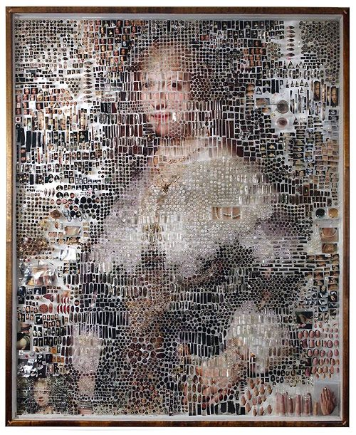 Artist Michael Mapes dissects photos and arranges them, pinning fragments like insects, and putting other pieces in vials. Incredible stuff, lots more below.                 Michael Mapes' Website