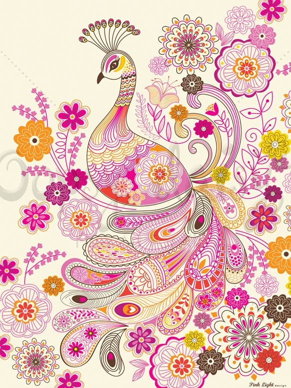Plumes and Blooms  #doodle #peacock #paisley #pattern