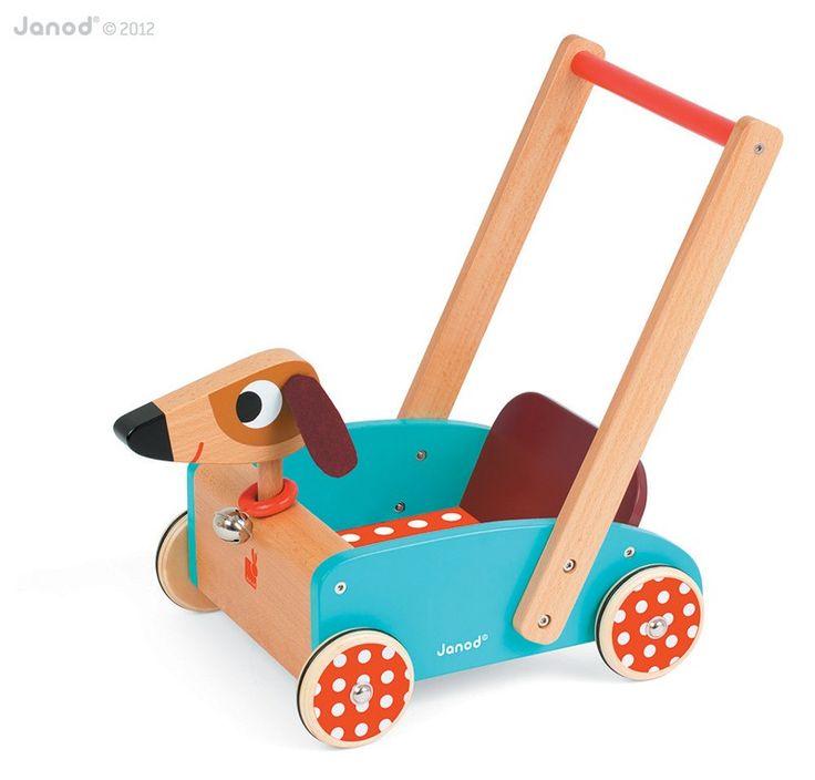 Lauflernwagen Aus Holz Von Haba ~   für Laufanfänger  Hübscher Lauflernwagen Hund aus Holz, von Janod
