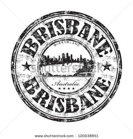 stock vector : Black grunge rubber stamp with the name of Brisbane city from Australia