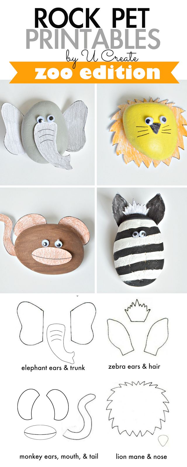 Rock Pet Printables: Zoo Edition - kids will have hours of creative and imaginative play by painting, coloring, and making pet rocks!
