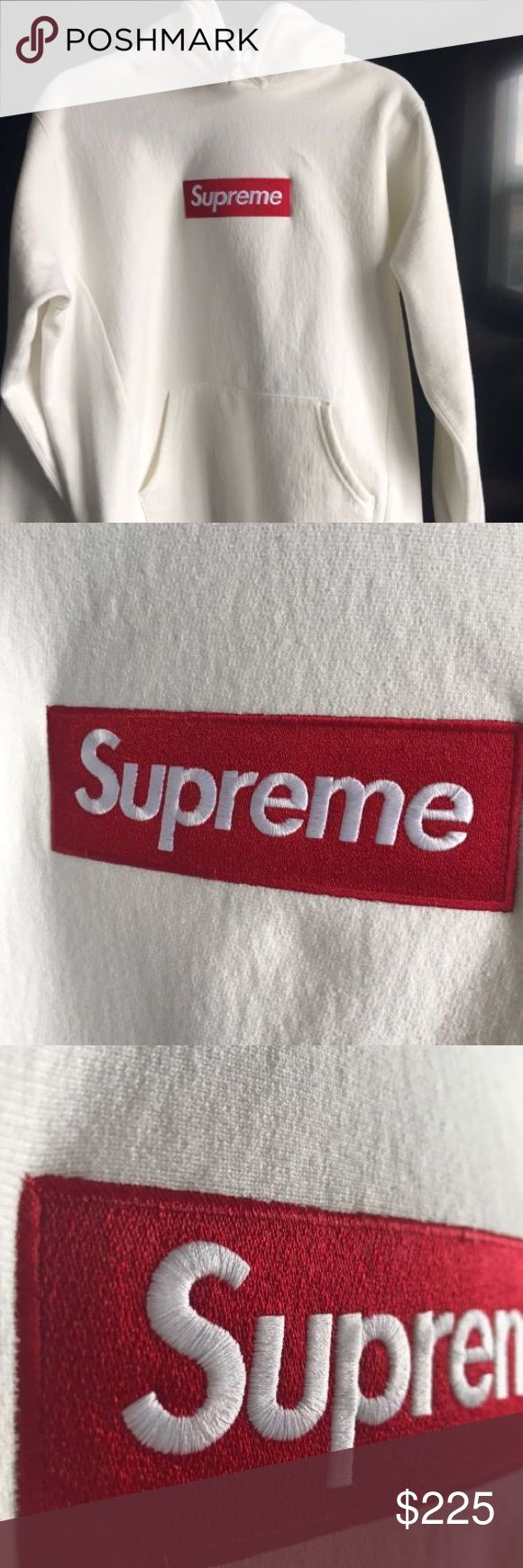 White and Red Supreme BOGO Hoodie 2016 Brand New looking to sell quick pm me if interested!!! #palace#supreme#bape Supreme Tops Sweatshirts & Hoodies