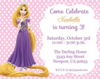 Tangled Rapunzel Invitation Disney Princess by StarPartyPrintables