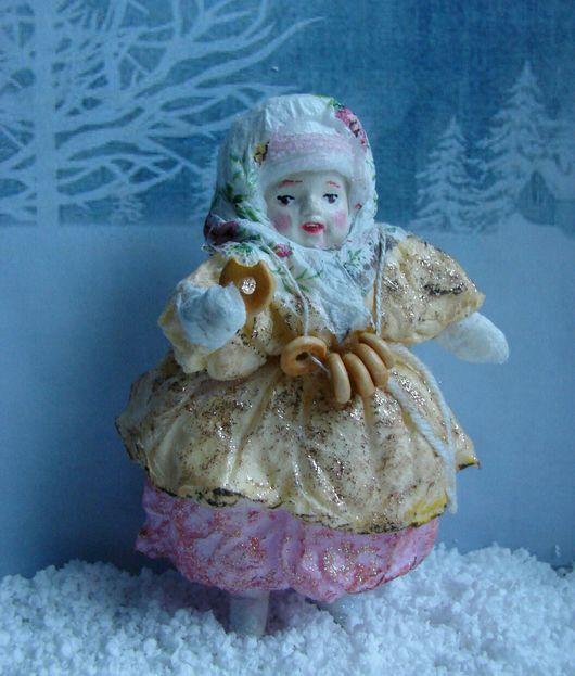 """Коллекционные куклы ручной работы. Ярмарка Мастеров - ручная работа. Купить Продана. Ватная елочная игрушка """" Дусечка """". Handmade."""