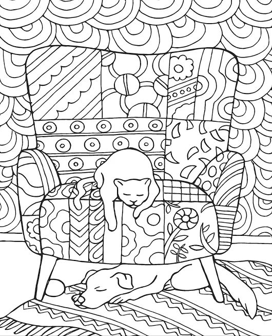 Cat & Dog Coloring Book for Adults