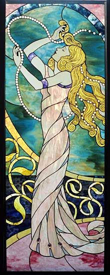 """Lady by the Sea"" Stained Glass Art ~ By: Lance Jordan"