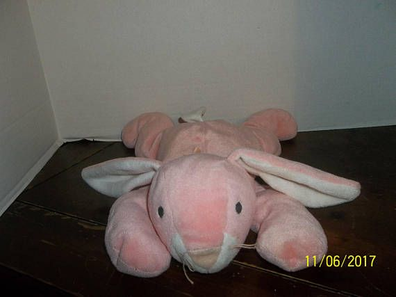 1996 ty pillow pals pink carrots bunny rabbit plush beanie baby 14