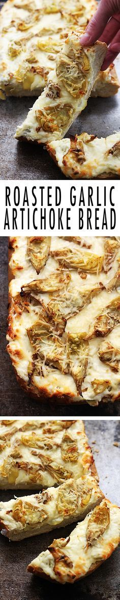 Salty roasted garlic and crispy artichoke bread, made with 3 kinds of cheese and baked til melty. This makes a great appetizer, or add grilled chicken for a hearty main dish.