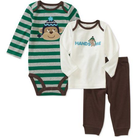 Child of Mine Carters Newborn Boys' 3-Piece Handsome Monkey Set, Brown