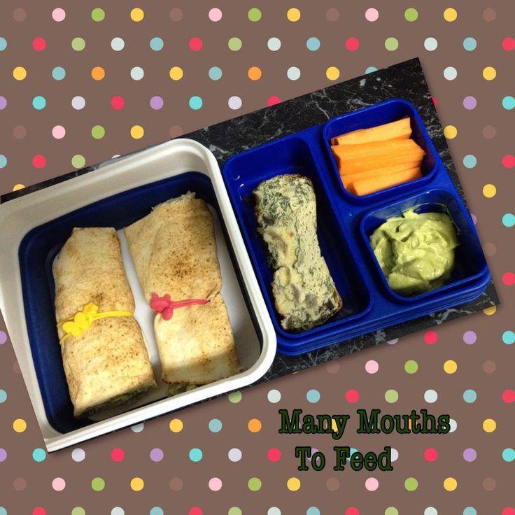 Wraps, zucchini slice, avocado dip and carrots