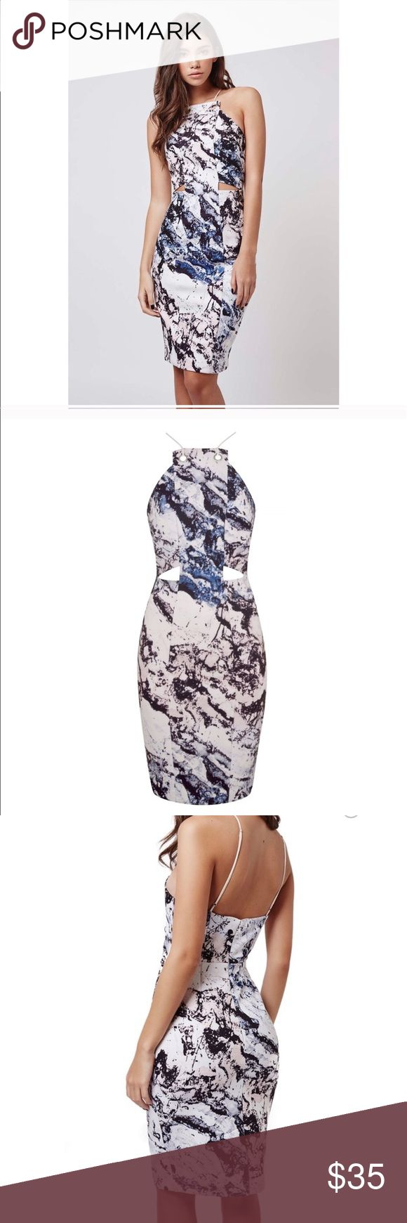 LATE NIGHT SALE😍KENDALL & KYLIE FOR TOPSHOP😍 SOLD OUT EVERYWHERE Kendall & Kylie for topshop abstract watercolor dress. this dress has a high neckline with cutouts around the stomach. Size 10 Kendall & Kylie Dresses