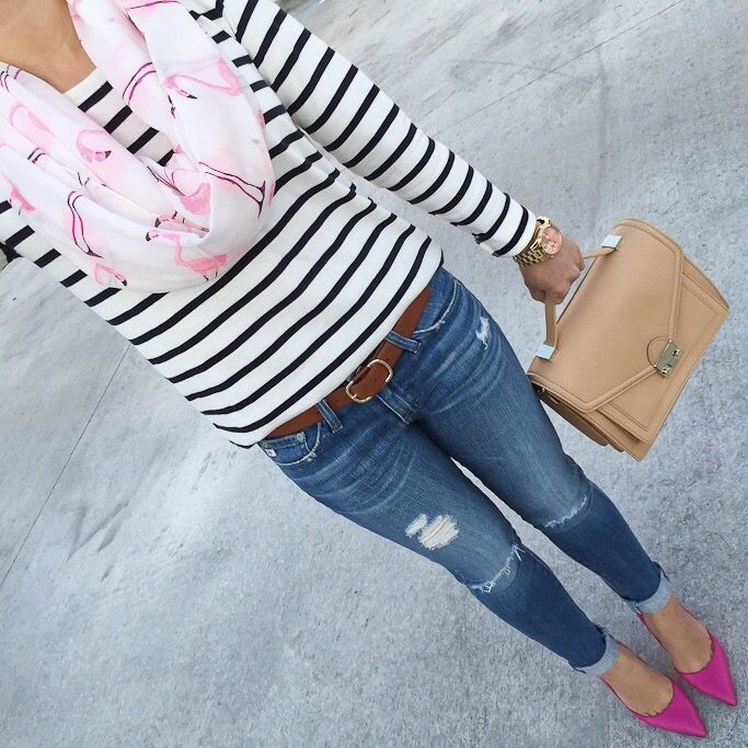 Flamingo infinity scarf, Striped shirt, AG distressed skinny jeans, Kate Spade lottie pumps, Loeffler Randall rider bag. stripes