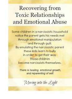 Moving Into the Light: Children of Narcissist Parents, Toxic Parents:  this journey of   self-discovery is yours alone; one you must take without the approval or the company of your toxic parent. Each day you are on this journey you will grow a little bit more. Day by day, one day at a time.