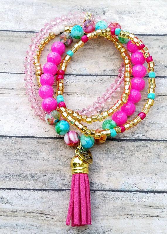 Boho Pink Beaded Bracelet Set MinimalistSeed by RandRsWristCandy