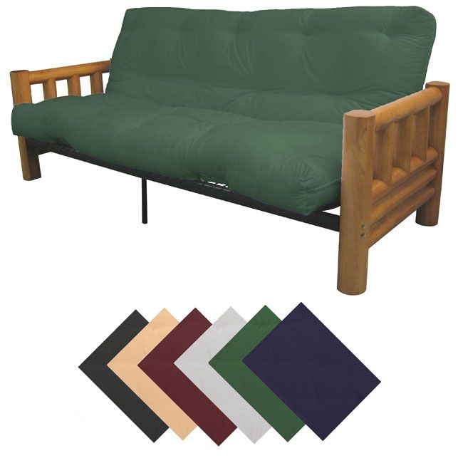 EpicFurnishings Yosemite Queen-size Rustic Lodge Frame with Inner Spring Futon Mattress Set (Queen Size with Hunter Green Mattress)