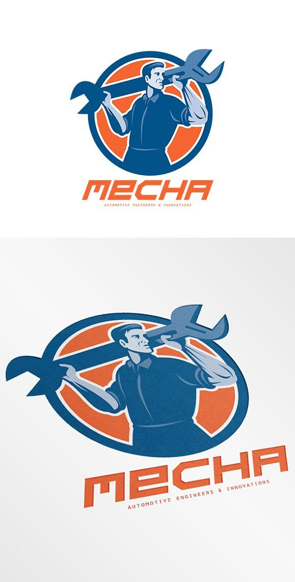 Mecha Automotive Engineers Logo Templates Mecha Automotive Engineers Logo. Logo showing Illustration of a mechanic lifting giant spanner wren by patrimonio
