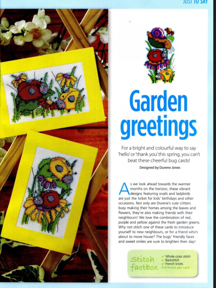 Cute Bugs 1/2 Cross Stitch Card Shop Issue 88 January/February 2013 Saved