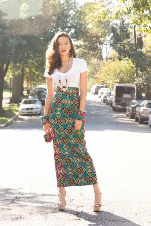 African clothing Africa skirt African fabric High Waist