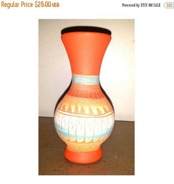 Vintage Navajo Pottery Vase,Southwestern Vase,Navajo,Turquoise,Coral,Vase,Pottery,Clay Vase,Pottery Art Vase,Southwestern,Ranch,Signed by JunkYardBlonde on Etsy