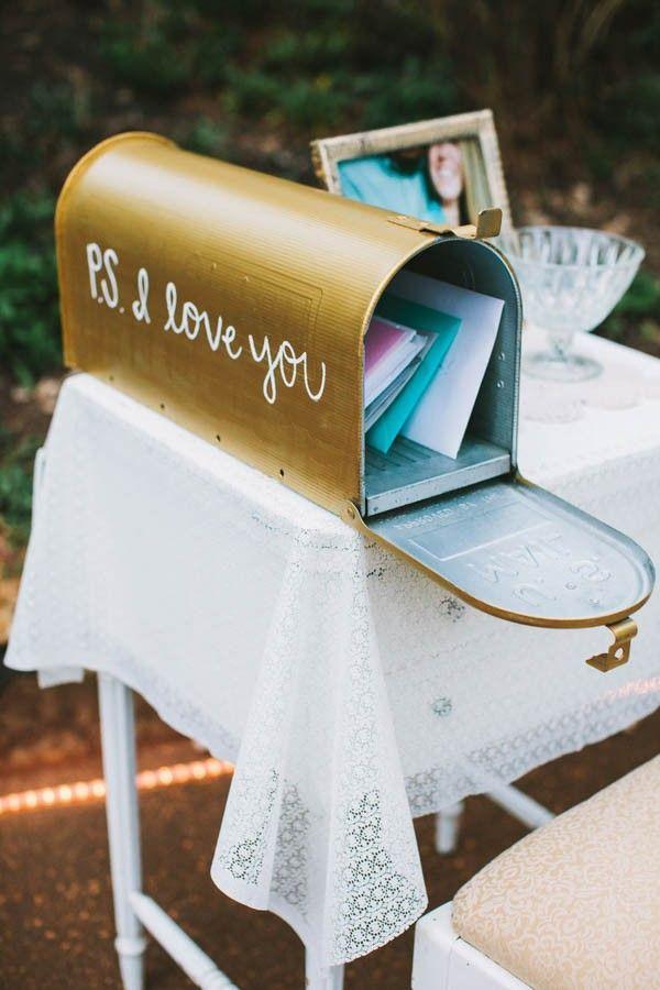 wood wedding card holders%0A Mailbox Wedding Card Box    unique  gold  rustic  romantic