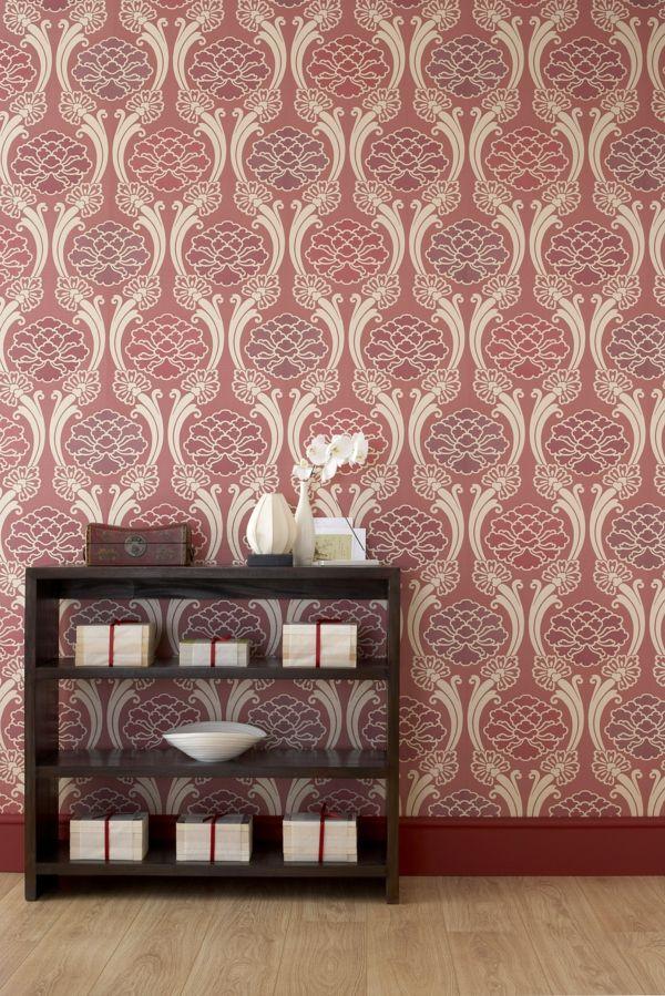 moderne tapeten rot beige kombination wandgestaltung