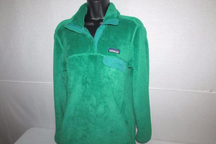 Patagonia Snap-T Fleece Pullover Women's Size Medium M Green Jacket Coat #Patagonia #Fleecepullover
