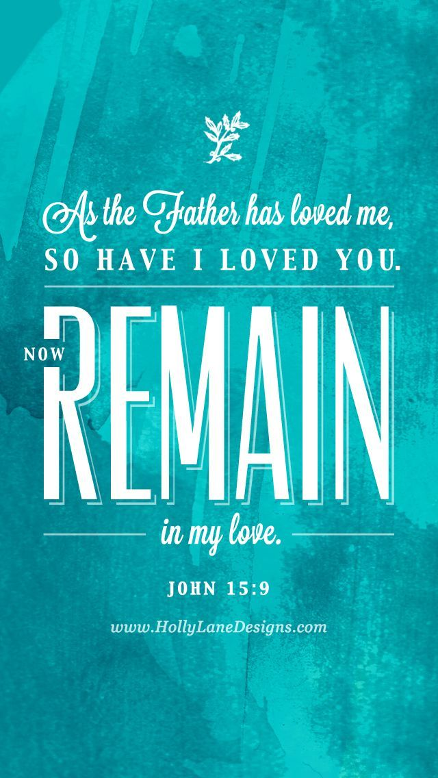 As the Father hath loved me, so have I loved you: continue ye in my love. John 15:9 KJV