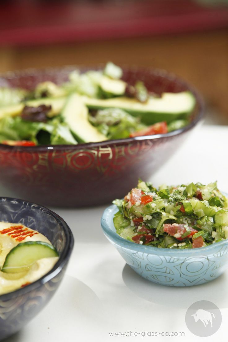 #Salad #bowls Creative salad presentation with bowls in bold colors featuring elaborate pattern designs designed by www.the-glass-co.com