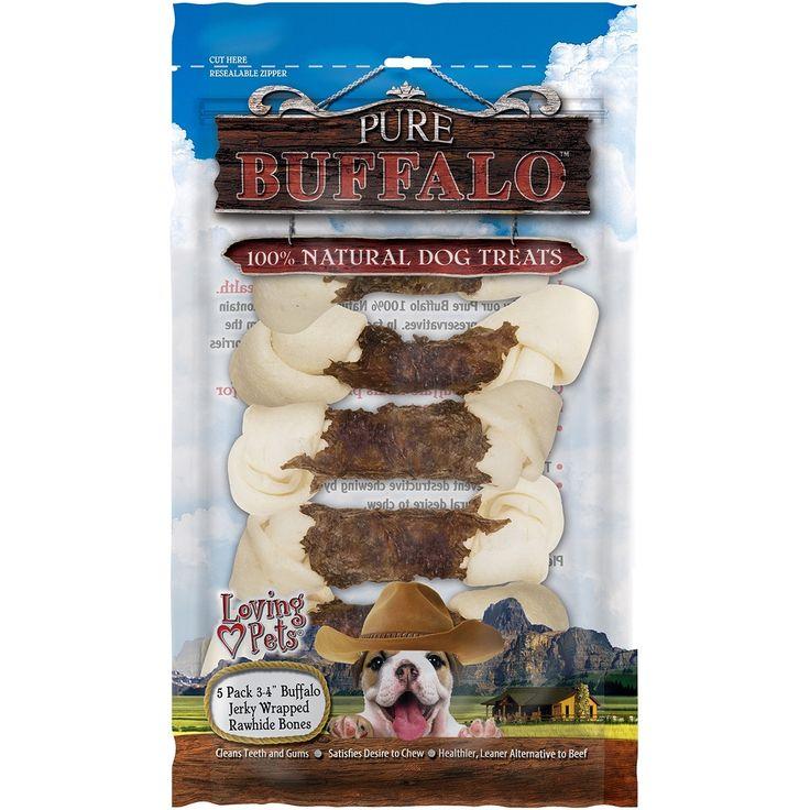 "Loving Pets Products Pure Buffalo 3""-4"" Buffalo Jerky Wrapped Rawhide Bone (Ivory) 5/Pkg-"