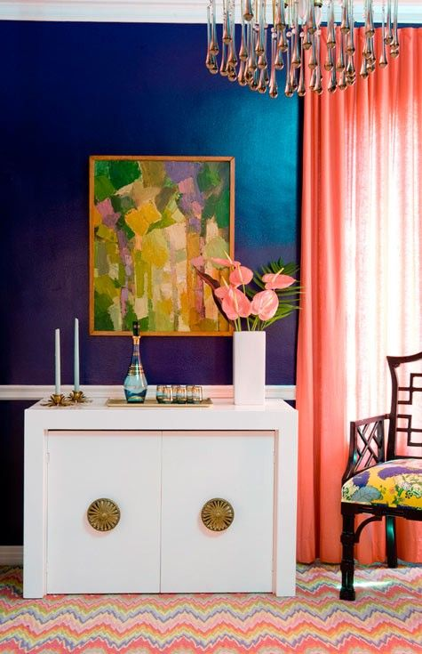love this image!  it never gets old. was this first published in elle decor? Coral #blue #coral: Wall Colors, Colors Combos, Blue Wall, Blue Coral, Coral Curtains, Cobalt Blue, Interiors Design, Colors Schemes, Jewels Tones