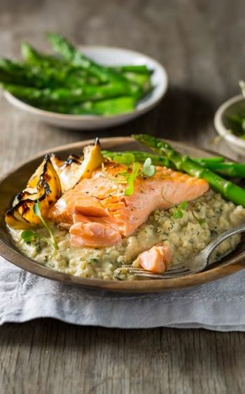 Lemon and Herb Risotto with Grilled Trout