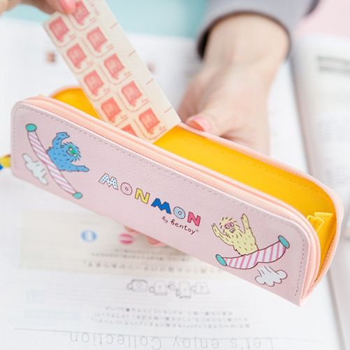 Jamie Notes Monmon Funny Monkey Girls Pencil Case For School Pu Leather Pencil Case Kawaii Stationery Zipper Bag School Supplies