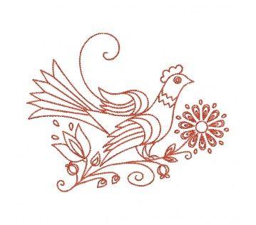 Výšivka Grob - vtáčik, 12x10 cm