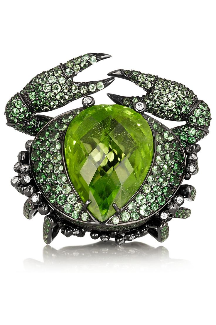 Crab Ring handcrafted from 18-karat blackened white gold, this intricate 6.48-carat peridot crab ring is set with 1.50-carat tsavorites and 0.43-carat diamonds | Lydia Courteille