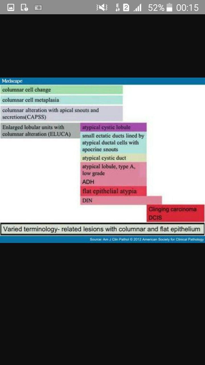 Columnar cell lesions spectrum
