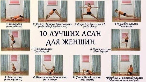 10  асан для женщин Каждую асану комплекса нужно удерживать статично от 60 до 120 секунд или выполнять в динамике по 8-12 раз. Выполняйте всю последовательность упражнений ежедневно или через день.