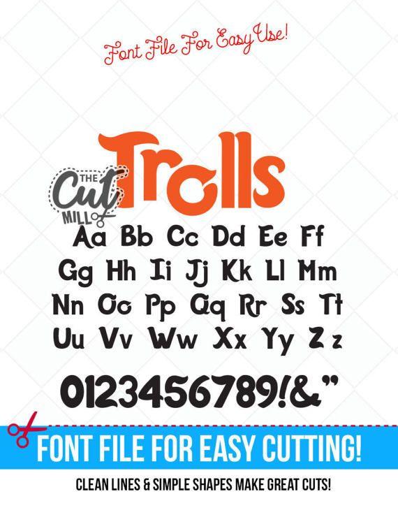 trolls inspired svg font trolls font trolls svg cut files