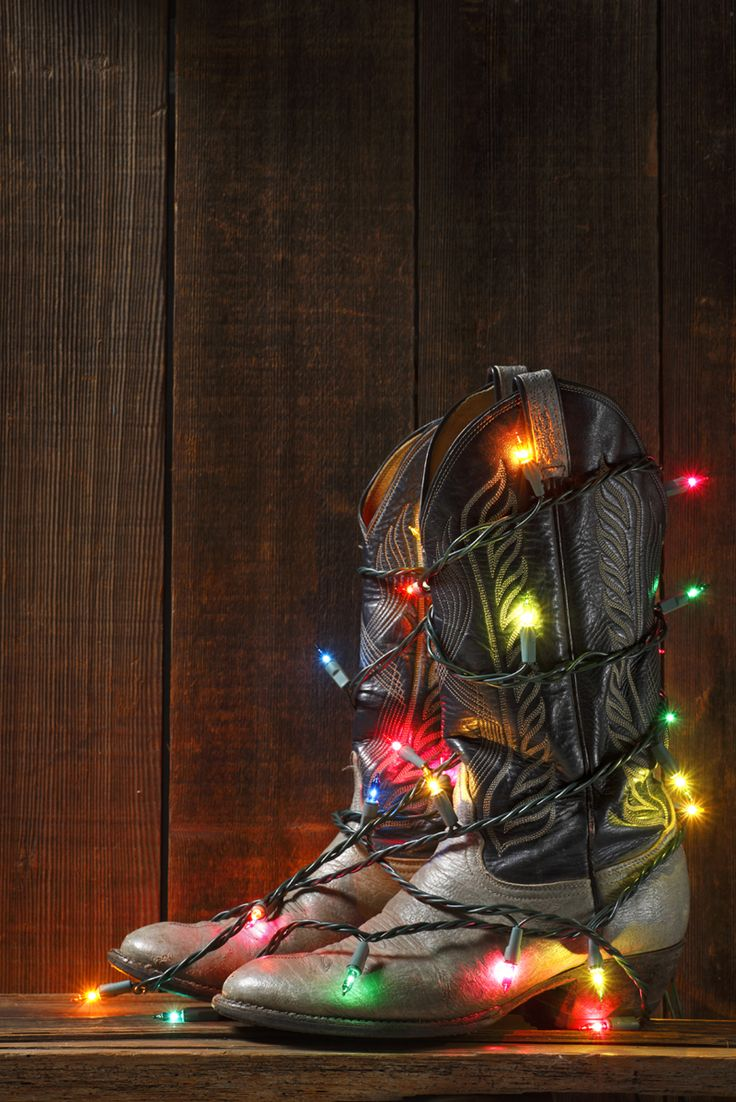 Cowgirl Christmas Decorating #cowgirl: Cowboy Boots, Cowboy Christmas, Christmas Lights, Holidays, Country Christmas, Christmas Ideas, Merry Christmas