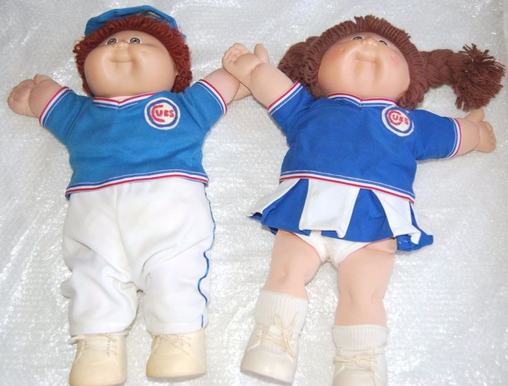 VINTAGE COLECO CABBAGE PATCH KIDS -BOY AND GIRL-  CHICAGO CUBS- XAVIER ROBERTS